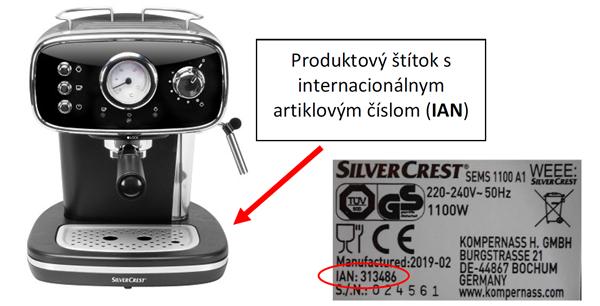 """kávovar sems 1100 a1"""" značky """"silvercrest"""", ian 313486"""